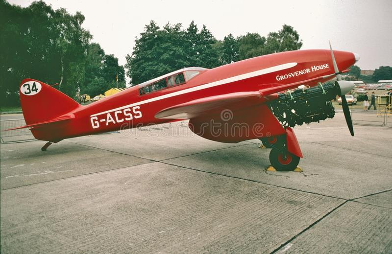 DeHavilland dh-88 Komeet bij Farnborough-Lucht toont 1984 stock fotografie