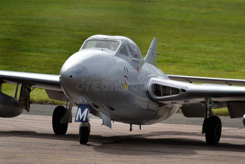 DeHavilland Vampire twin and single seat early jet fighter aircraft. British DeHavilland Vampire twin and single seat early jet fighter aircraft. at the royalty free stock image