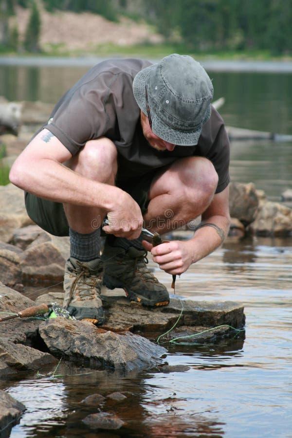 Dehooked fisher strumyka pstrąg obrazy royalty free