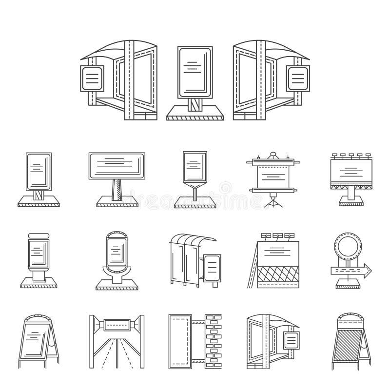 Dehors ligne icônes de publicité illustration libre de droits
