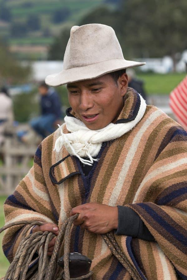 Dehors portrait d'un cowboy de chagra en Equateur photographie stock libre de droits