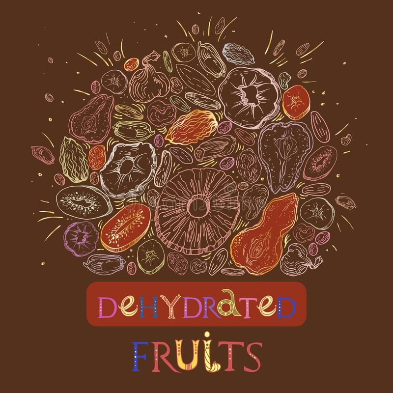 Dehydrated fruit pattern. Dehydrated fruit round shape pattern in engraved style with golden elements and lettering. Fully editable color vector illustrations stock illustration