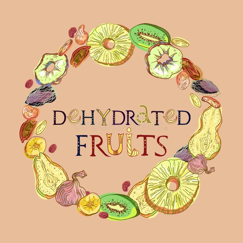 Dehydrated fruits with lettering. Dehydrated fruits wreath pattern. Fully editable vector illustration with lettering stock illustration