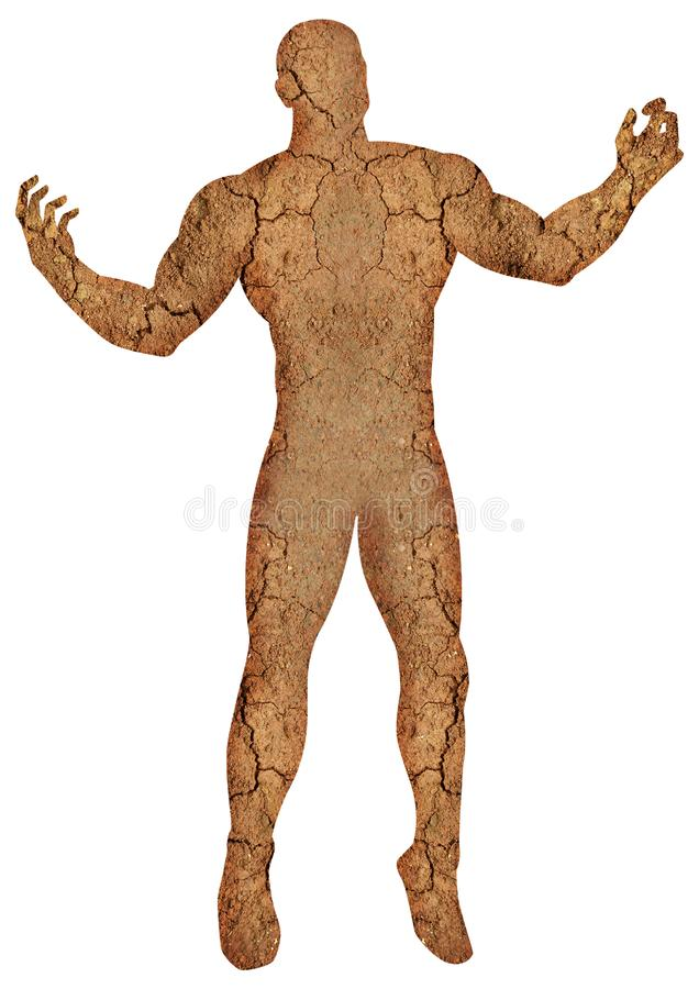 Dehydrated Human Body. Digital imaging of human body with crack land texture. Dehydration, dry concept royalty free illustration