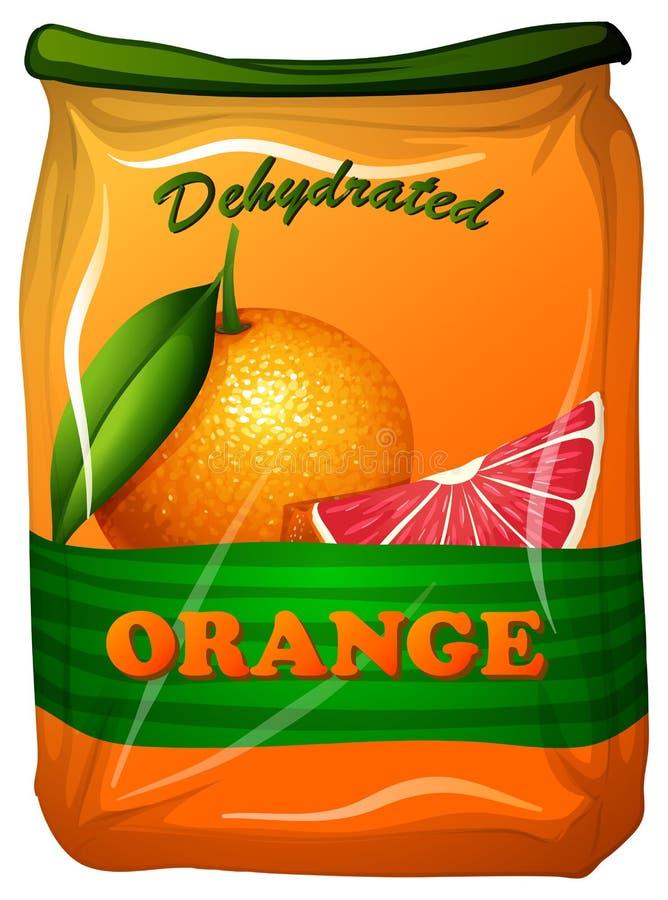 Dehydrated orange in bag. Illustration vector illustration