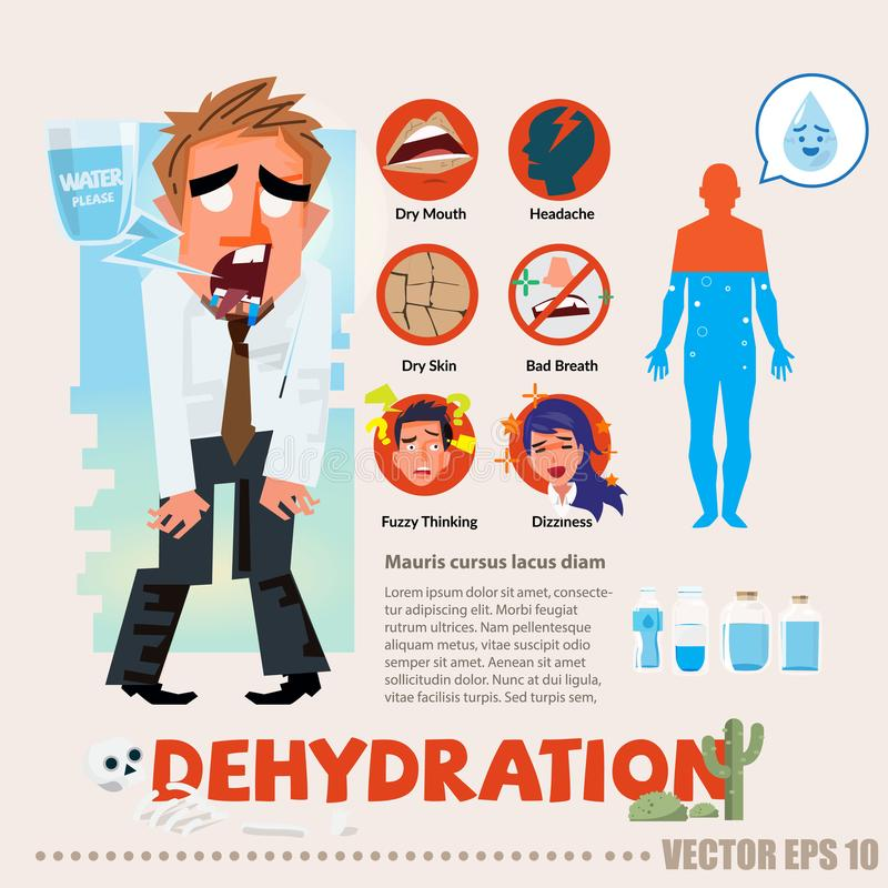 Dehydrated thirsty character with infographic. typographic and l. Ogotype - illustration royalty free illustration