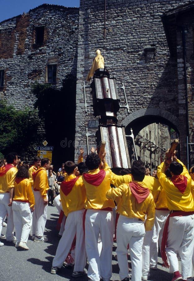 Dei Ceri de Corsa del La en Gubbio. Región Umbría, Italia fotos de archivo libres de regalías