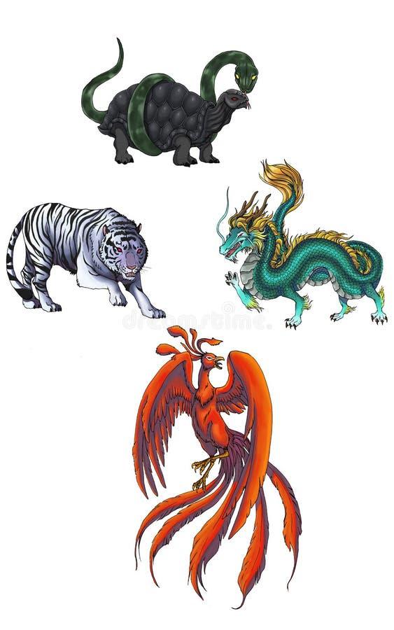 4 dei cinesi della creatura mythical (Shijin) royalty illustrazione gratis