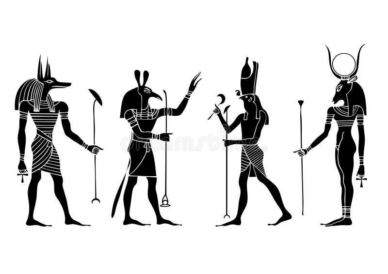 Dei e dea egiziani illustrazione vettoriale