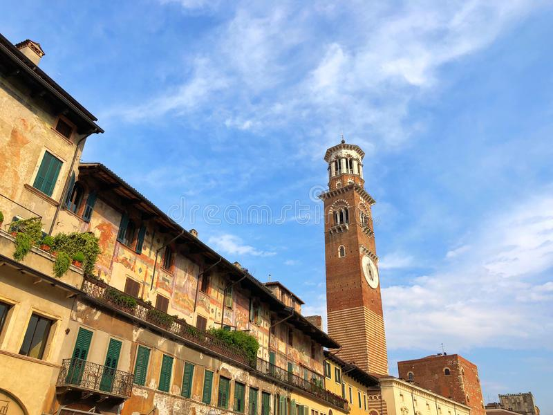 Dei Lamberti, Verona, Italia di Torre fotografie stock