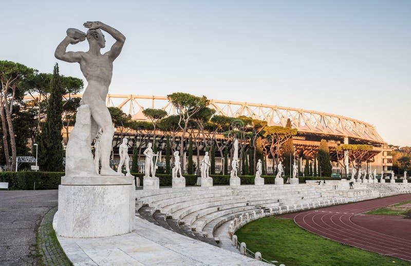 Dei Marmi, Foro Italico de Stadio, en la salida del sol, Roma imagenes de archivo