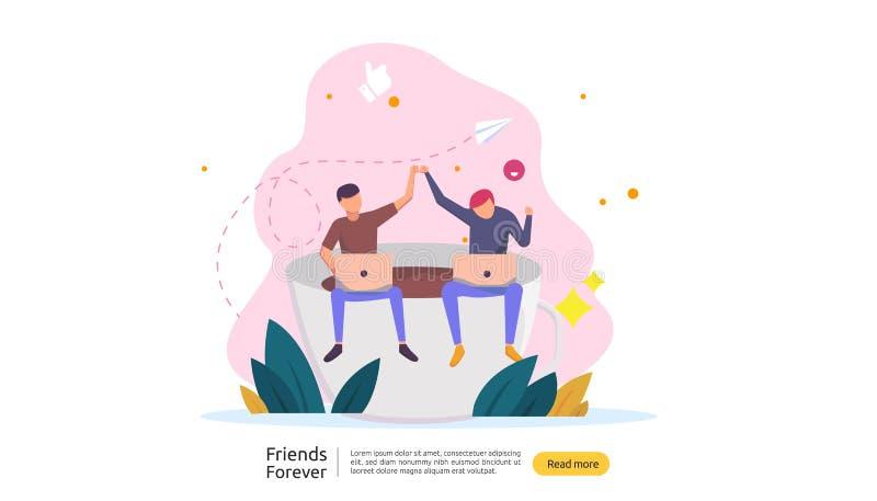 dei migliori amici concetto per sempre per la celebrazione dell'evento felice di giorno di amicizia illustrazione di vettore dell illustrazione di stock