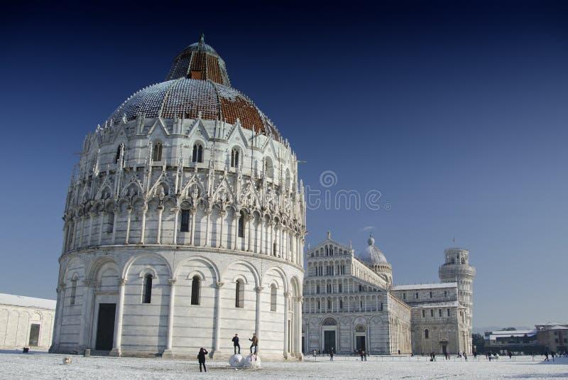 dei miracoli piazza Pisa śnieżyca obraz stock