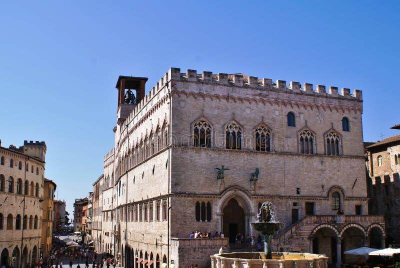 Dei Priori Palazzo или город в Перудже стоковые фото