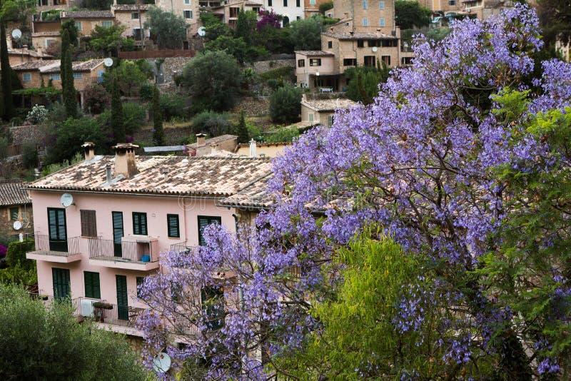 Deia traditionell stenby i det Majorca Tramuntana berget Balearic Spanien Härlig by i Mallorca Deia arkivbild