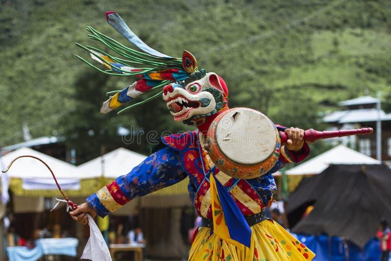 Deidade principal do leão da neve, dança butanesa da máscara do homem poderoso, Butão imagem de stock