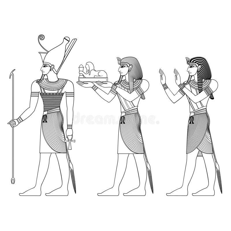 Deidades de Egito antigo ilustração stock