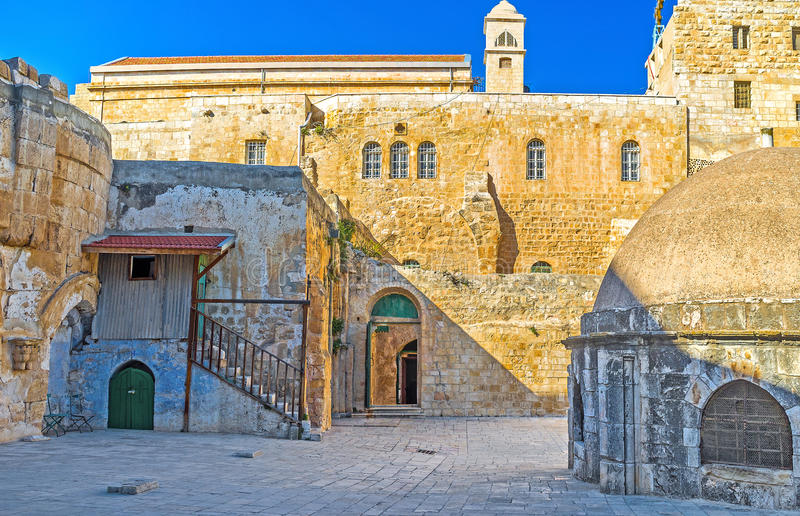 The Deir El-Sultan. The facade wall of the Ethiopian Monastery (Deir El-Sultan), located on the rooftop of the Church of the Holy Sepulchre, Jerusalem, Israel stock images