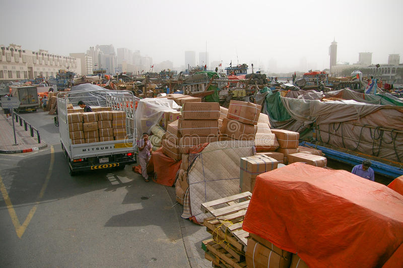 Deira and Bur Dubai: Creek - goods - cargo royalty free stock photography