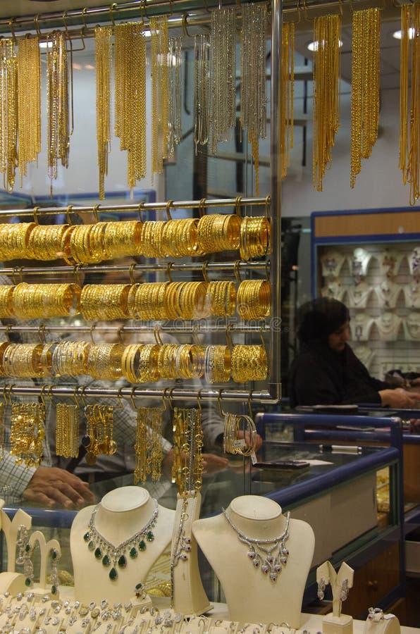 Deira - Gold - Souk - Dubai - jewels. Deira Gold Souk: Gold market in Dubai royalty free stock photography