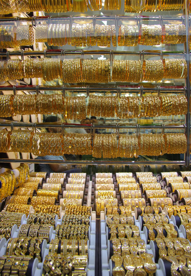 Deira - Gold - Souk - Dubai - jewels. Deira Gold Souk: Gold market in Dubai royalty free stock photos