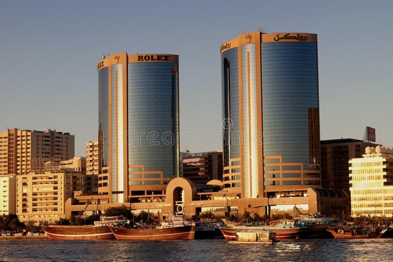 Deira Twin Towers in Dubai Creek Novem stock image