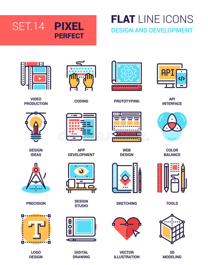 Deisgn och utveckling stock illustrationer