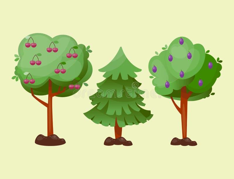 Deixa a desenhos animados o fundo verde da planta da folha do verão do vetor da árvore ilustração do vetor