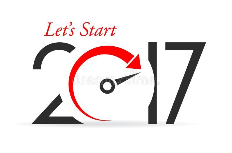 Deixa o ano novo 2017 do começo ilustração royalty free