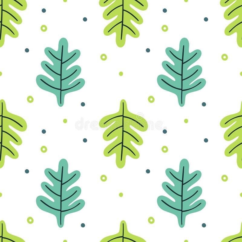 Deixa o grupo liso Plantas tropicais do teste padrão sem emenda isoladas no fundo branco Floral verde simples da natureza Fantasi ilustração do vetor