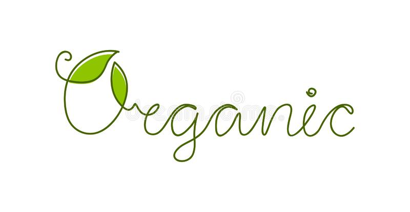 Deixa o logotipo orgânico Um a lápis desenho Caligrafia da rotulação da mão ilustração stock