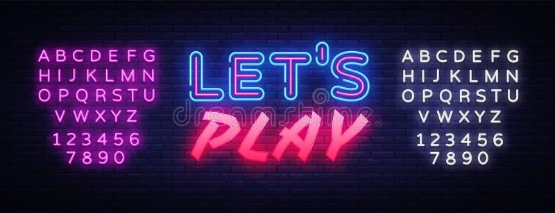 Deixa o molde de n?on do projeto do vetor do texto do jogo Logotipo de n?on do jogo, tend?ncia colorida do projeto moderno do ele ilustração stock