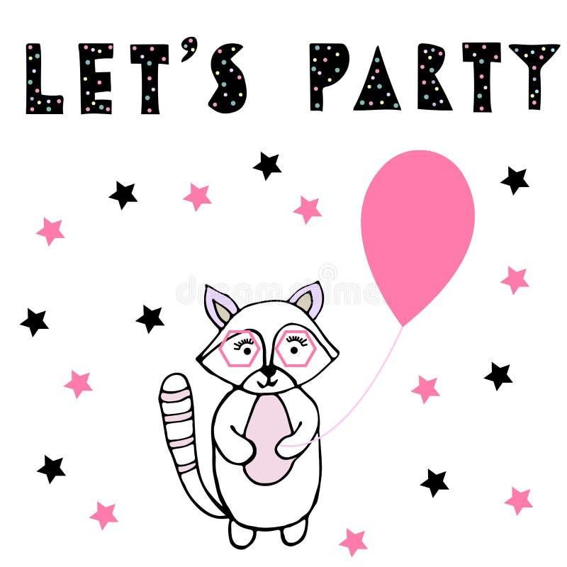 Deixa o partido Guaxinim do bebê com baloon cor-de-rosa ilustração do vetor