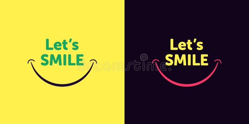 Deixa o texto com boca de sorriso, estilo do sorriso dos desenhos animados ilustração stock