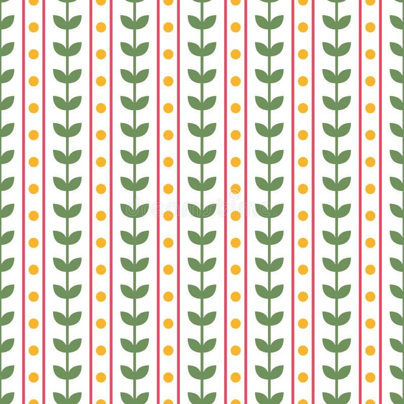 Deixa a repetição floral do vetor o teste padrão sem emenda Teste padrão listrado com listras cor-de-rosa, as folhas verdes e os  ilustração royalty free