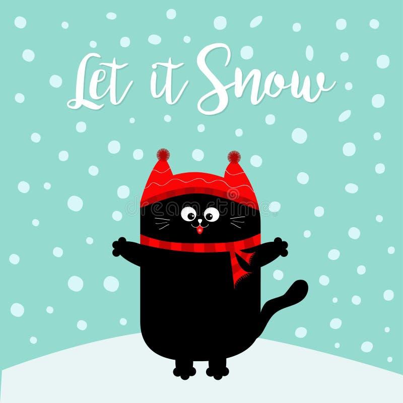 Deixais lhe para nevar Gatinho do gato preto Chapéu vermelho, lenço Personagem de banda desenhada engraçado bonito no monte de ne ilustração stock