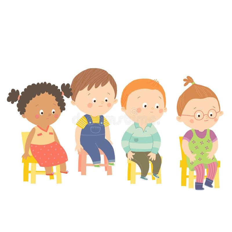 Deixar perplexo as crianças prées-escolar que sentam-se em cadeiras ilustração do vetor