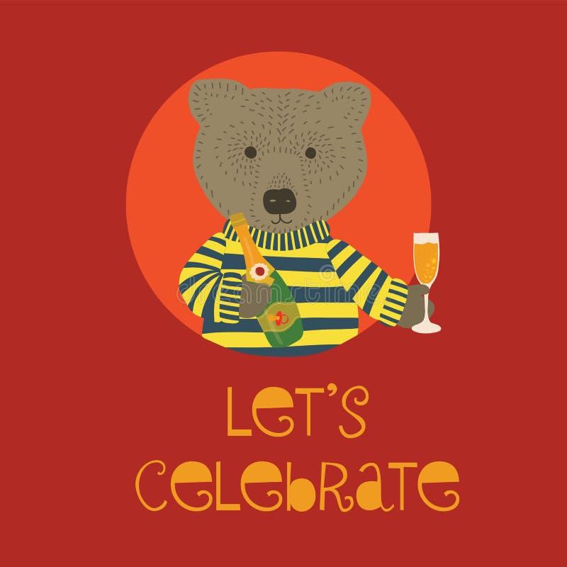 Deixe-nos comemorar a ilustração do vetor da festa do bebê com o urso que guarda a garrafa e a flauta do champanhe Convite para o ilustração royalty free