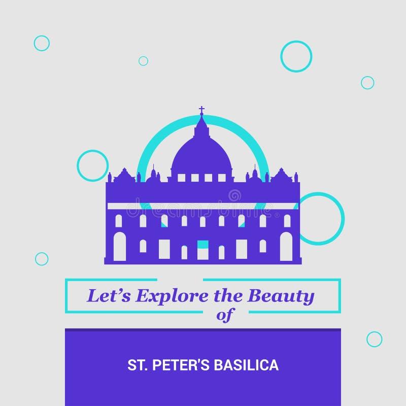 Deixe-nos explorar a beleza da basílica de St Peter, Itália nacional ilustração stock