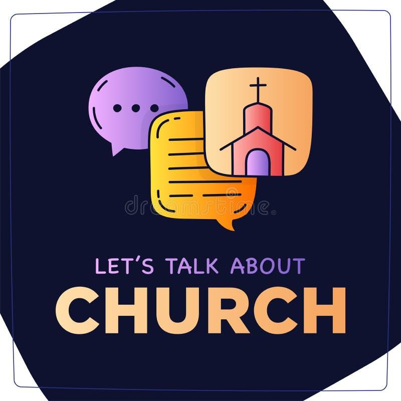 Deixe-nos falar sobre a bolha do discurso do diálogo da ilustração da garatuja da igreja ilustração royalty free