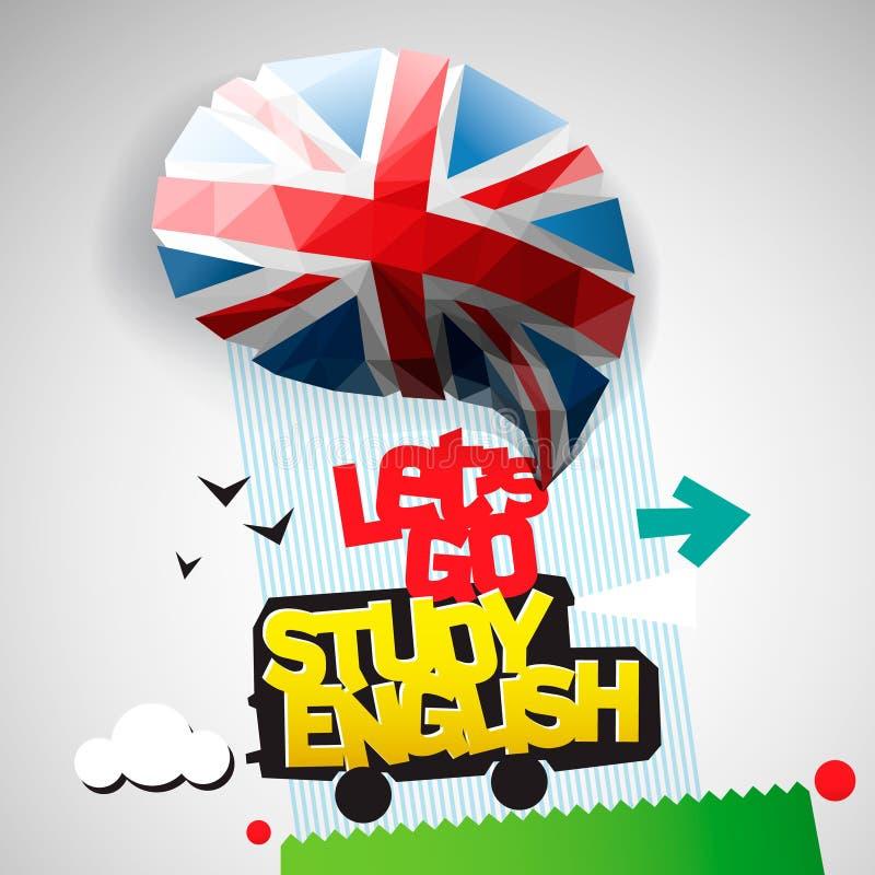 Deixe-nos ir fundo do inglês do estudo ilustração stock