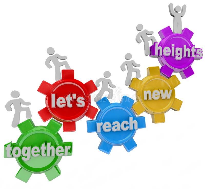 Deixe-nos junto alcangar alturas novas Team nas engrenagens ilustração do vetor