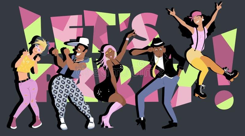 Deixe-nos party! ilustração stock