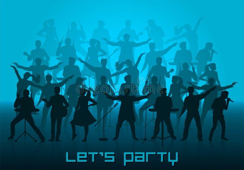 Deixe o conceito do partido do ` s Grupo de silhuetas dos músicos, dos cantores e dos dançarinos ilustração royalty free