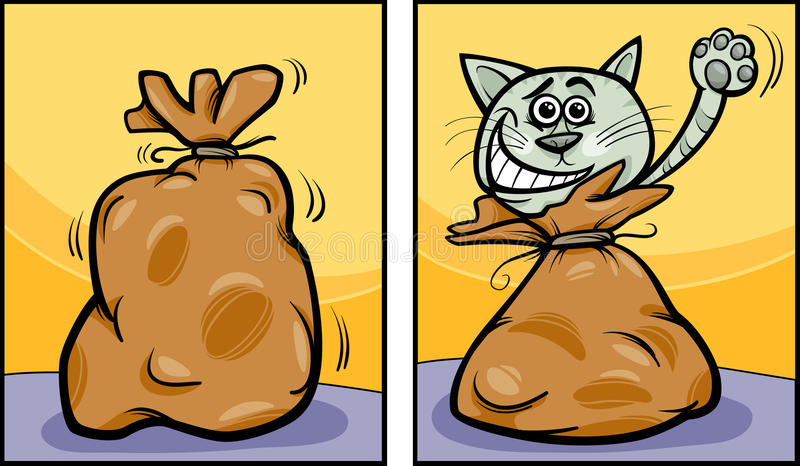 Deixe o gato fora dos desenhos animados do saco ilustração stock
