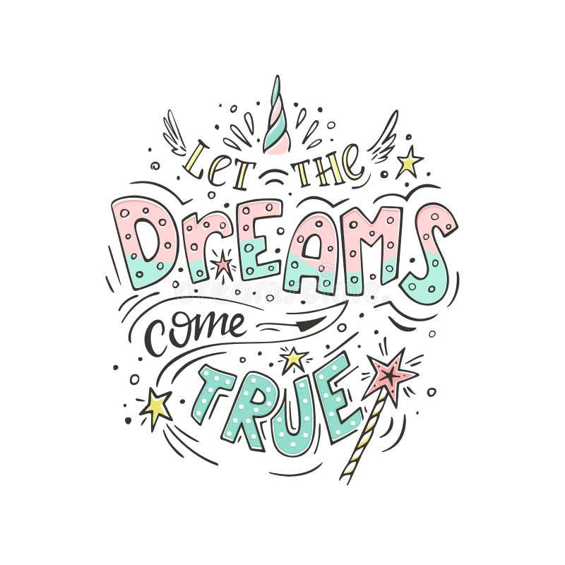 Deixe os sonhos vir verdadeiro ilustração royalty free