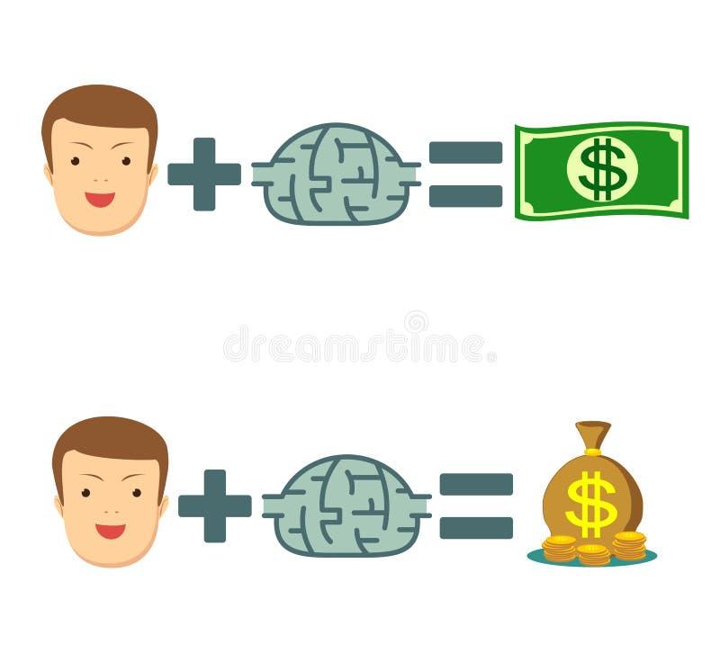 Deixe seu cérebro fazer o dinheiro escute seu cérebro jogo ilustração royalty free
