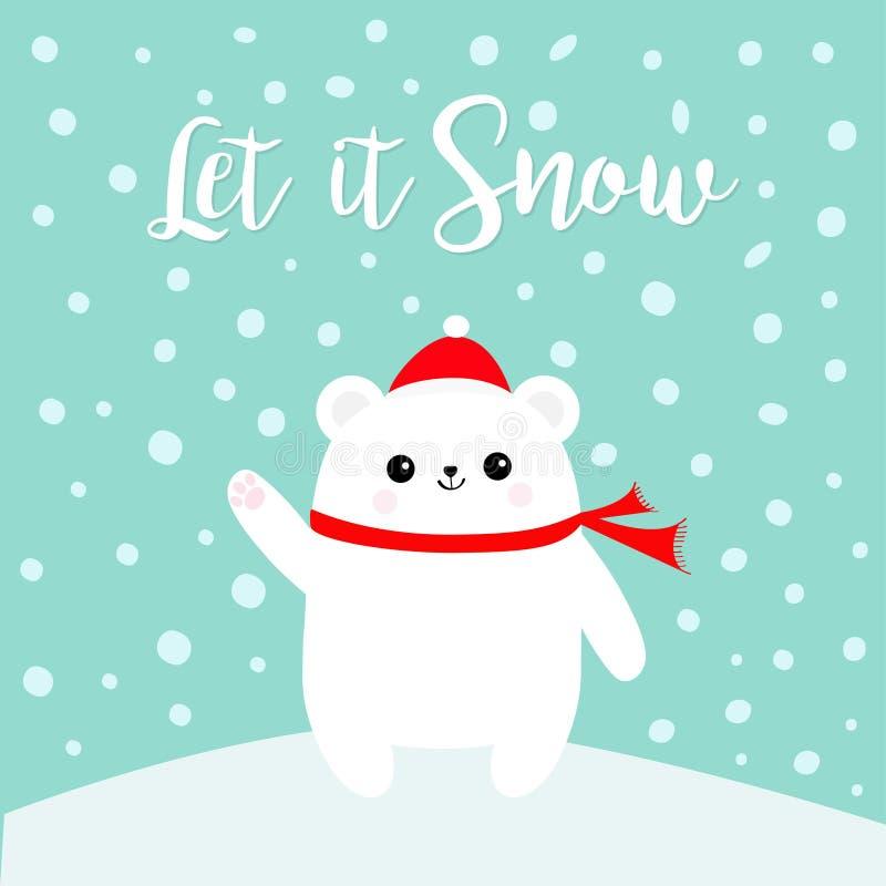 Dejáis le nevar Impresión polar de la pata de la mano del cachorro de oso que agita blanco Sombrero y bufanda rojos de Santa Clau stock de ilustración