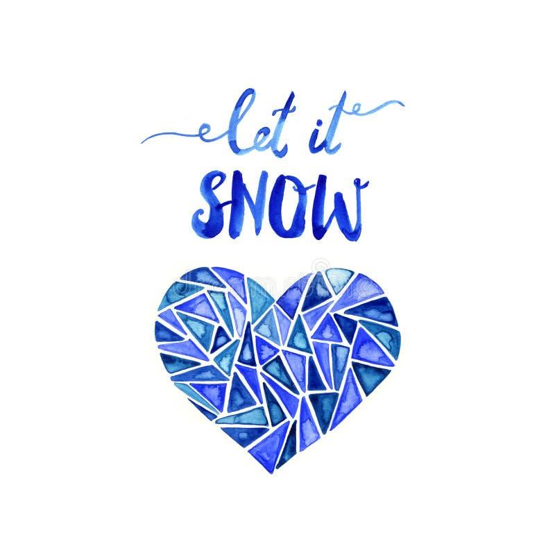 Dejáis le nevar Letras azules dibujadas mano del cepillo Ilustración de la acuarela ilustración del vector