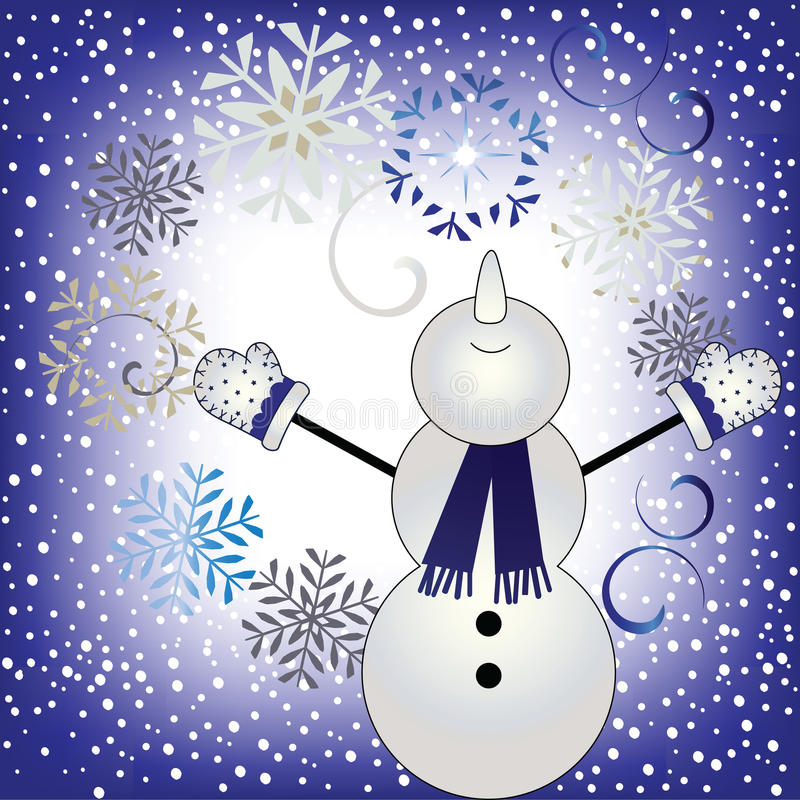 Dejáis le nevar - muñeco de nieve feliz en nevadas ilustración del vector